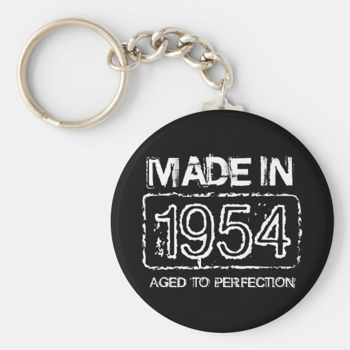 Vintage 1954 Aged to perfection keychain for men
