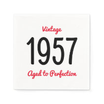 Vintage 1957 Aged To Perfection 60 Birthday Party Paper Napkin