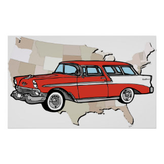 Vintage 1957 Chevy Nomad Classic Car Poster