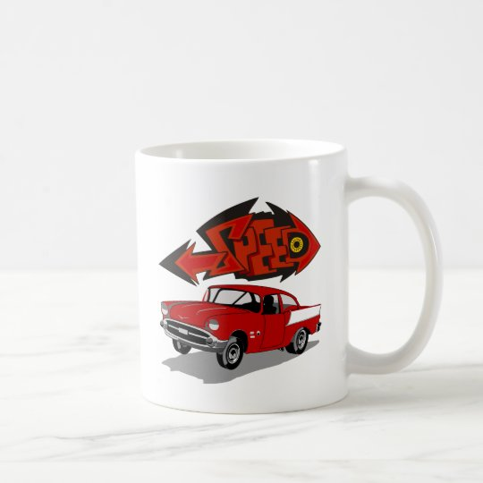 Vintage 1957 Chevy with Grafitti Text Speed Coffee Mug