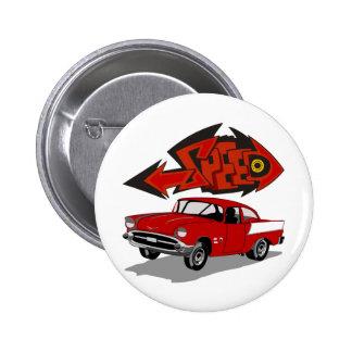 Vintage 1957 Chevy with Grafitti Text Speed Pinback Button
