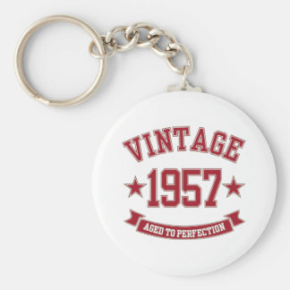 Vintage 1957 envejecido a la perfección llavero redondo tipo pin