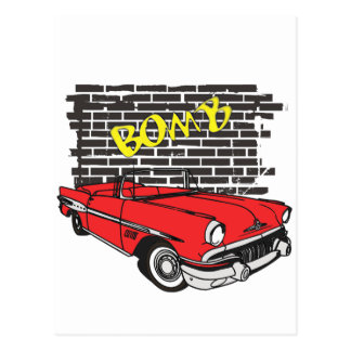 Vintage 1957 Pontiac The Bomb Grafitti Postcard
