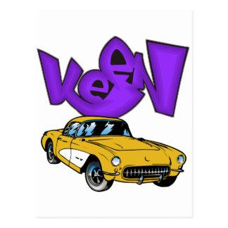 Vintage 1957 Vette Classic Corvette Grafitti KEEN Postcard