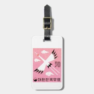 Vintage 1960 Korea Red-Crowned Crane Postage Stamp Luggage Tag