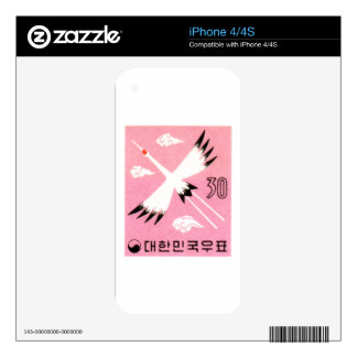 Vintage 1960 Korea Red-Crowned Crane Postage Stamp Skin For The iPhone 4S