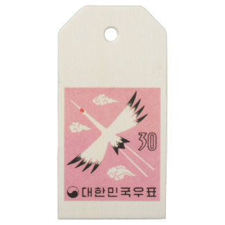 Vintage 1960 Korea Red-Crowned Crane Postage Stamp Wooden Gift Tags