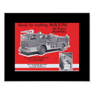 Vintage 1960`s era Magazine Ad for MAXIM Fire App. Poster