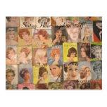 Vintage 1960s Hairstyles Collage Postcard