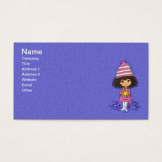 Vintage 1960s Little Girl White Boots Daisy Flower Business Card