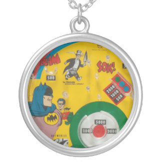 Vintage 1960s Toy Comic Book Hero Retro Art Charm Silver Plated Necklace