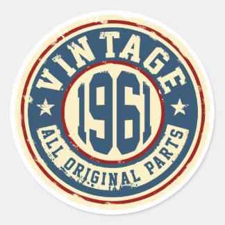 Vintage 1961 All Original Parts Classic Round Sticker