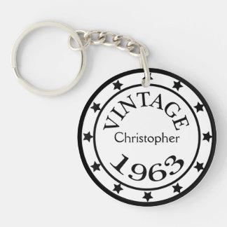 Vintage 1963 birthday year stars custom boys name acrylic key chain