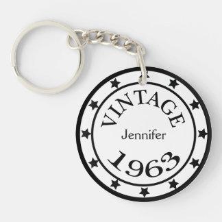 Vintage 1963 birthday year stars custom girls name acrylic keychain
