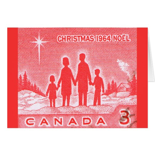 Vintage 1964 Canada Post Stamp Christmas Card