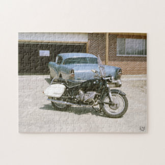 Vintage 1965 Motorcycle and Classic Car Jigsaw Puzzle