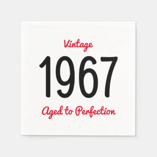 Vintage 1967 Aged To Perfection 50 Birthday Party Paper Napkin