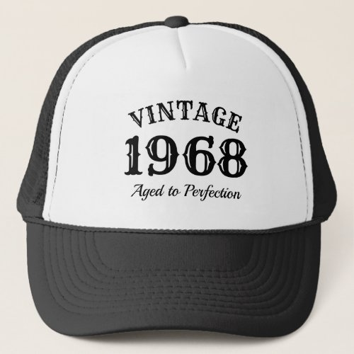 Vintage 1968 trucker hat for mens 50th Birthday
