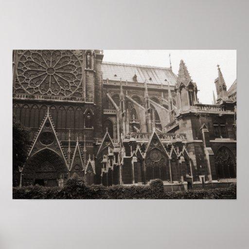 Vintage 1969 notre dame cathedral france decor poster for Art decoration france