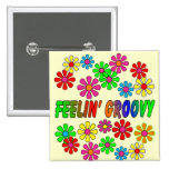 """Vintage 1970's """"Feelin' Groovy"""" gifts 2 Inch Square Button"""