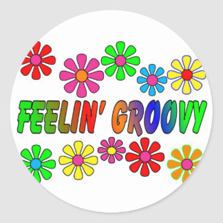 "Vintage 1970's ""Feelin' Groovy"" gifts Classic Round Sticker"