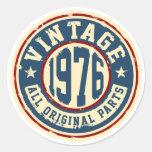 Vintage 1976 todas las piezas de la original pegatina redonda