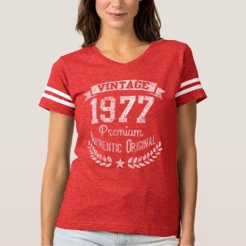 Vintage 1977 40th Birthday Year Premium Original T-shirt by cutencomfy at Zazzle