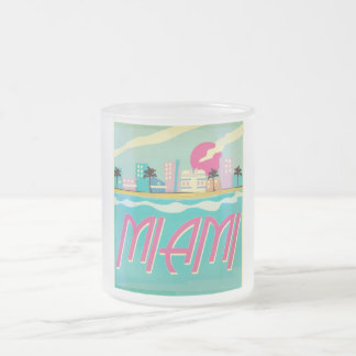 Vintage 1980s Miami Poster Frosted Glass Coffee Mug