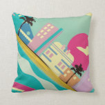 Vintage 1980s Miami Poster Throw Pillow