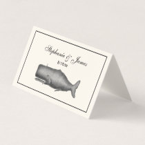 Vintage 19th Century Whale Drawing Ivory Place Card
