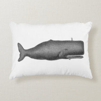 Vintage 19th Century Whale Drawing N Accent Pillow