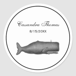 Vintage 19th Century Whale Drawing N Classic Round Sticker