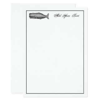 Vintage 19th Century Whale Drawing Note Card