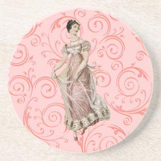Vintage 19th Century Woman Drink Coaster