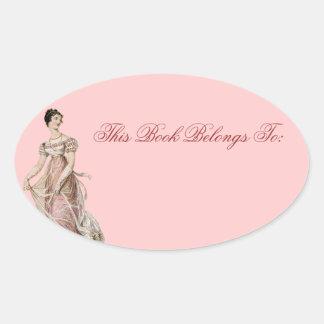 Vintage 19th Century Woman Oval Sticker