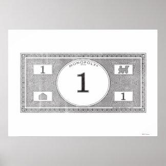 Vintage 1 Dollar Bill Poster