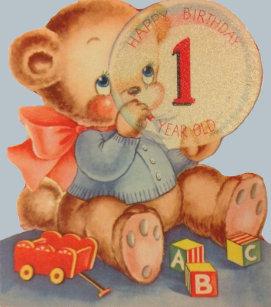 Vintage 1 Year Old Birthday Card