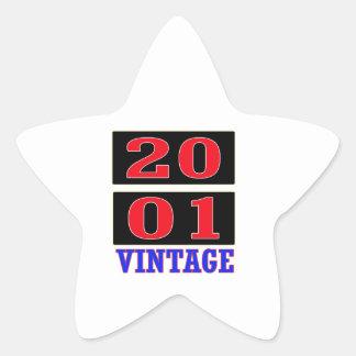 Vintage 2001 calcomanías forma de estrella