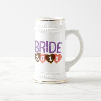 Vintage 2011 de la novia Brown deportivo y púrpura Taza De Café
