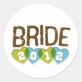 Vintage 2011 de la novia Brown deportivo y verde Etiquetas Redondas
