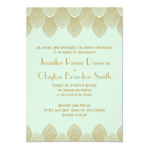 Vintage 20's Art Deco Scallop Mint Gold Wedding 5x7 Paper Invitation Card