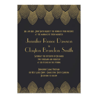 Vintage 20's Art Deco Scallop Wedding Invitation