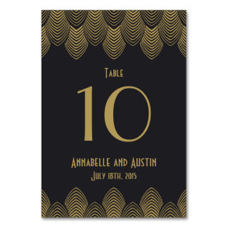 Vintage 20's Art Deco Scallop Wedding Table Number Table Card