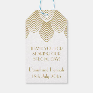 Vintage 20's Art Deco Scallop White Gold Gift Tag Pack Of Gift Tags
