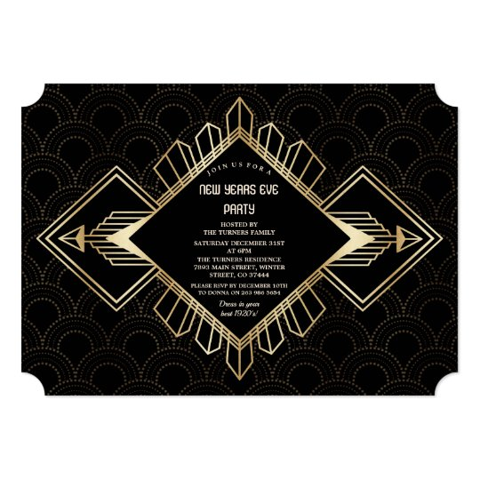vintage 20s gold black great gatsby new years eve invitation