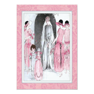 Vintage 20s Illustration Bridal Party Shower Pink Personalized Announcements