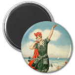 Vintage 20s Swimsuit Beach Pin Up Girl 2 Inch Round Magnet
