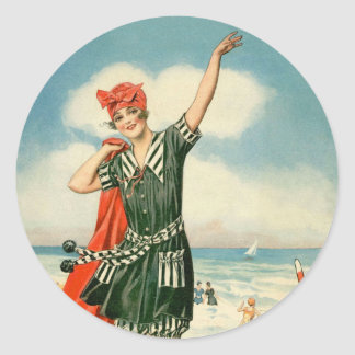 Vintage 20s Swimsuit Beach Pin Up Girl Classic Round Sticker