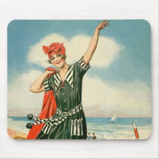 Vintage 20s Swimsuit Beach Pin Up Girl Mouse Pad