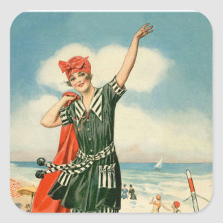 Vintage 20s Swimsuit Beach Pin Up Girl Square Sticker